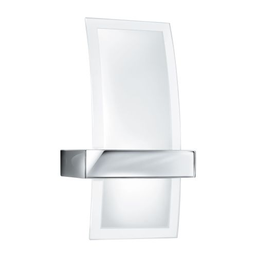 Led Wall Bracket, Curved Clear/Frosted Glass, Chrome 5115-Led
